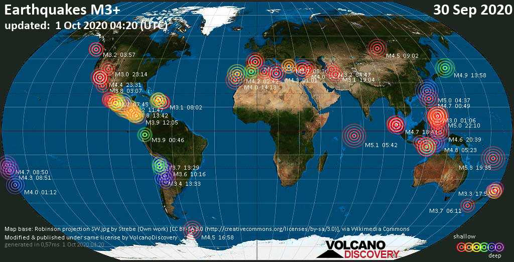 Worldwide earthquakes above magnitude 3 during the past 24 hours on  1 Oct 2020