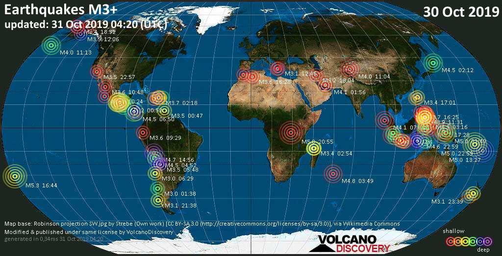 Mappa del mondo che mostra i terremoti sopra la magnitudo 3 nelle ultime 24 ore il 31 octubre 2019