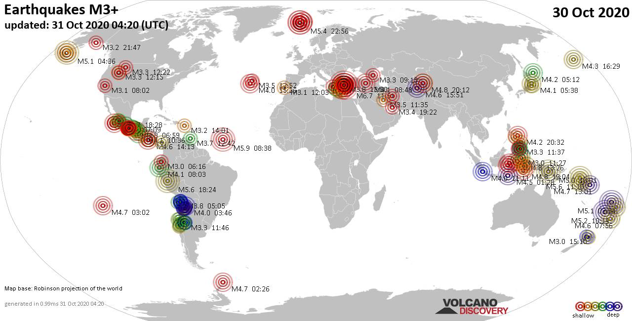 Worldwide earthquakes above magnitude 3 during the past 24 hours on 31 Oct 2020