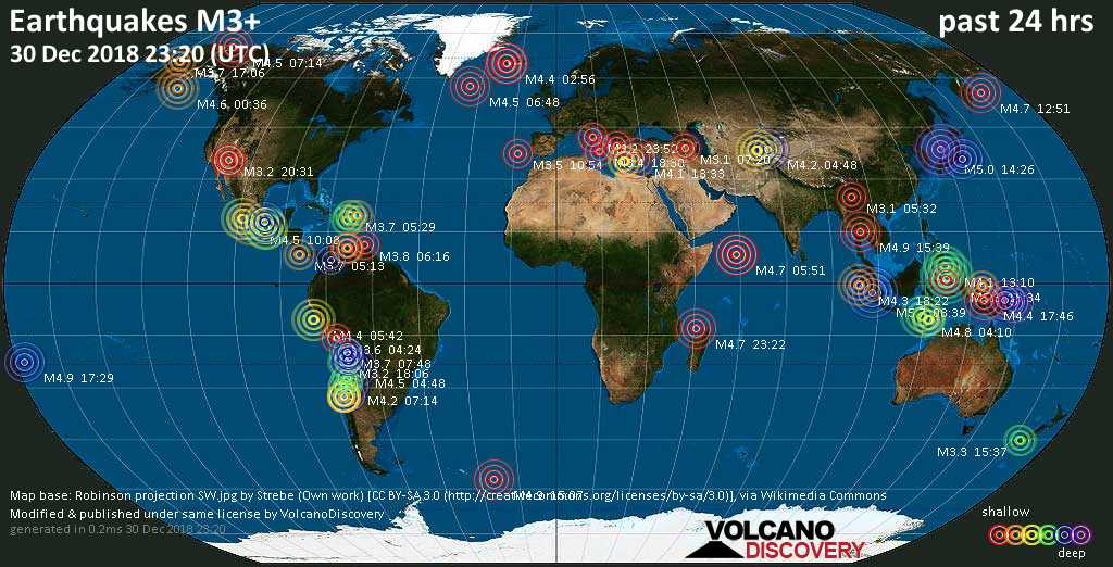 World map showing earthquakes above magnitude 3 during the past 24 hours on 30 Dec 2018