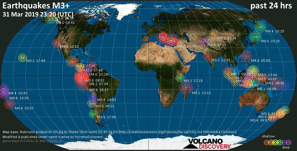 World map showing earthquakes above magnitude 3 during the past 24 hours on 31 Mar 2019