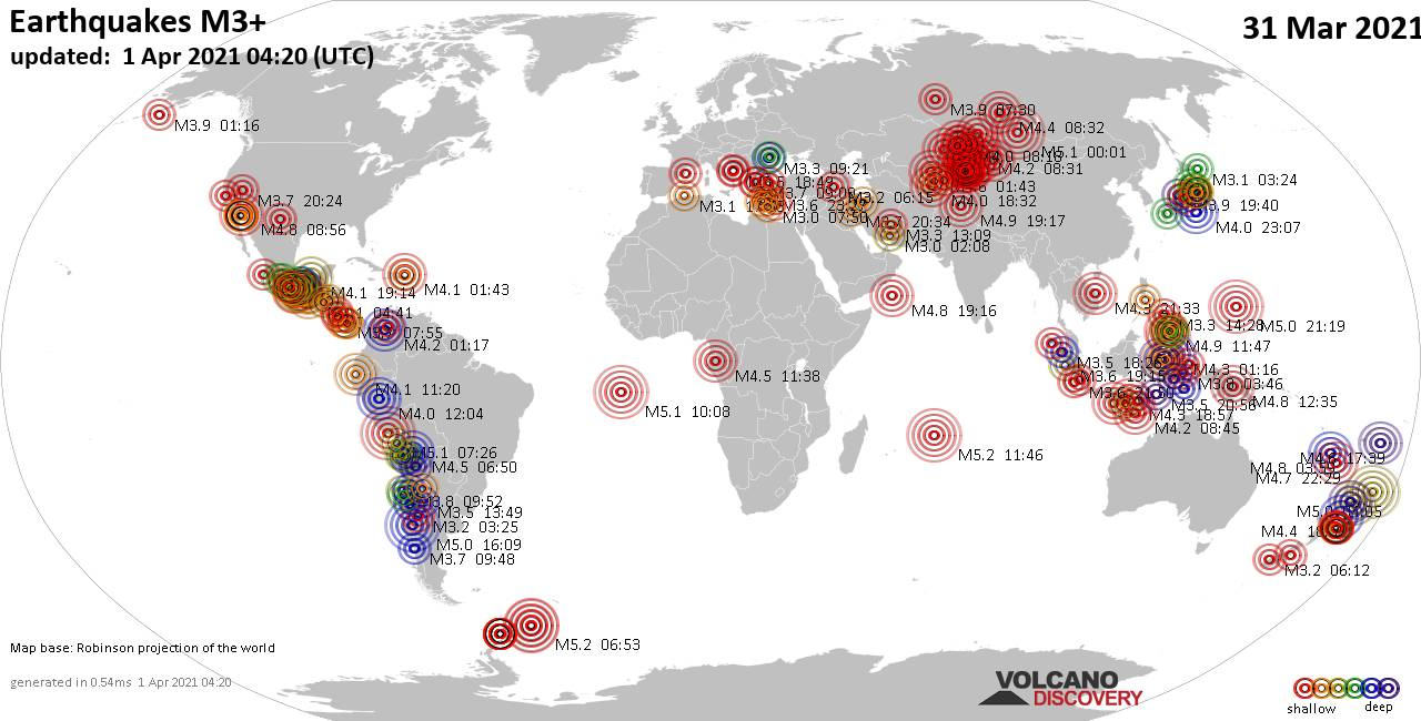 Worldwide earthquakes above magnitude 3 during the past 24 hours on  1 Apr 2021