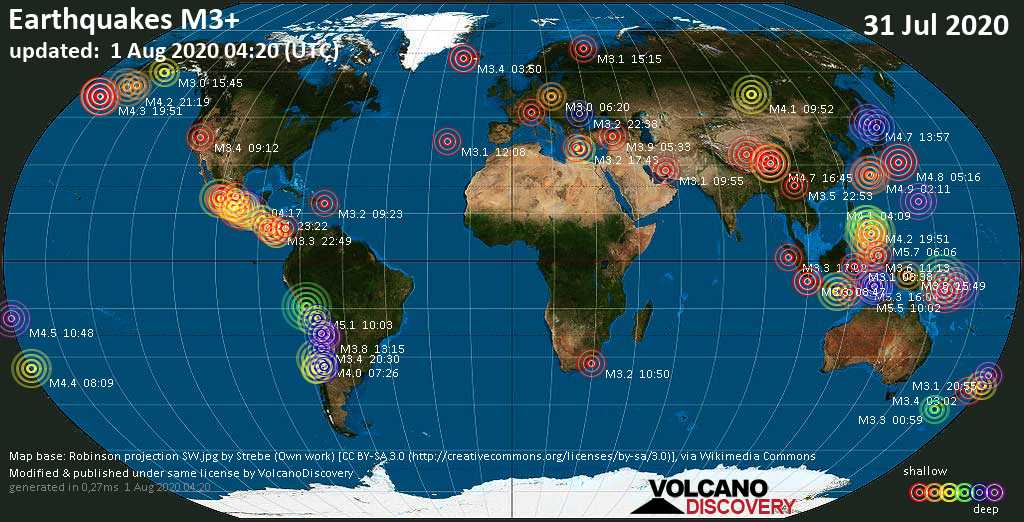 Worldwide earthquakes above magnitude 3 during the past 24 hours on  1 Aug 2020