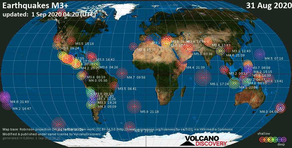 Worldwide earthquakes above magnitude 3 during the past 24 hours on  1 Sep 2020