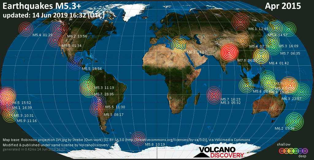 World map showing earthquakes above magnitude 5.3 during April 2015
