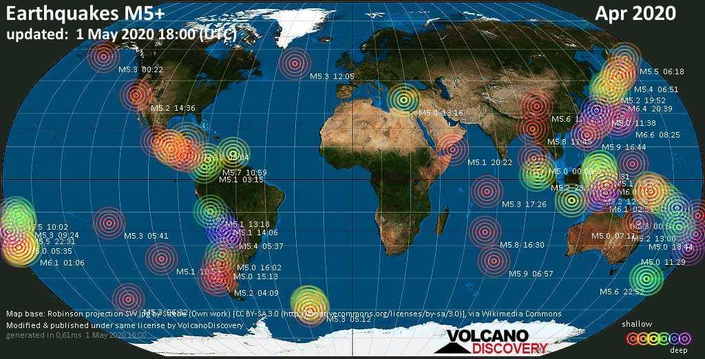 Weltkarte mit Erdbeben über Magnitude 3 während April 2020