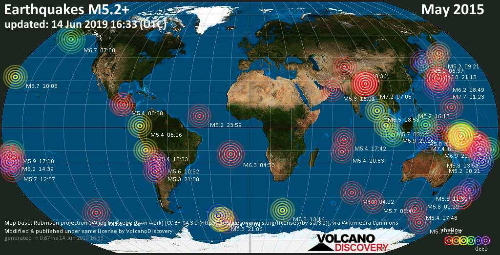 World map showing earthquakes above magnitude 5.2 during May 2015