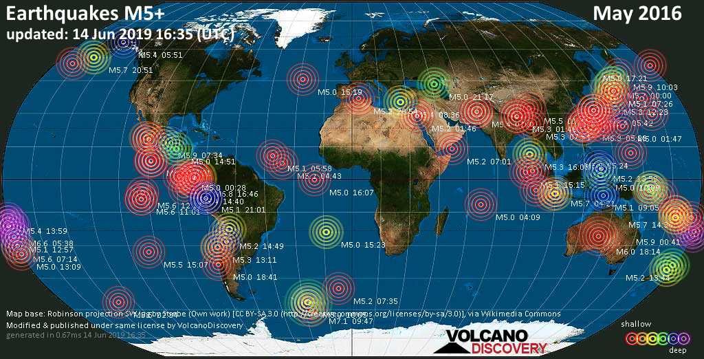 World map showing earthquakes above magnitude 5 during May 2016