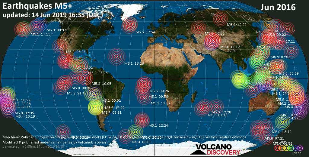 World map showing earthquakes above magnitude 5 during June 2016