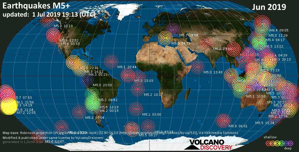 World map showing earthquakes above magnitude 5 during June 2019