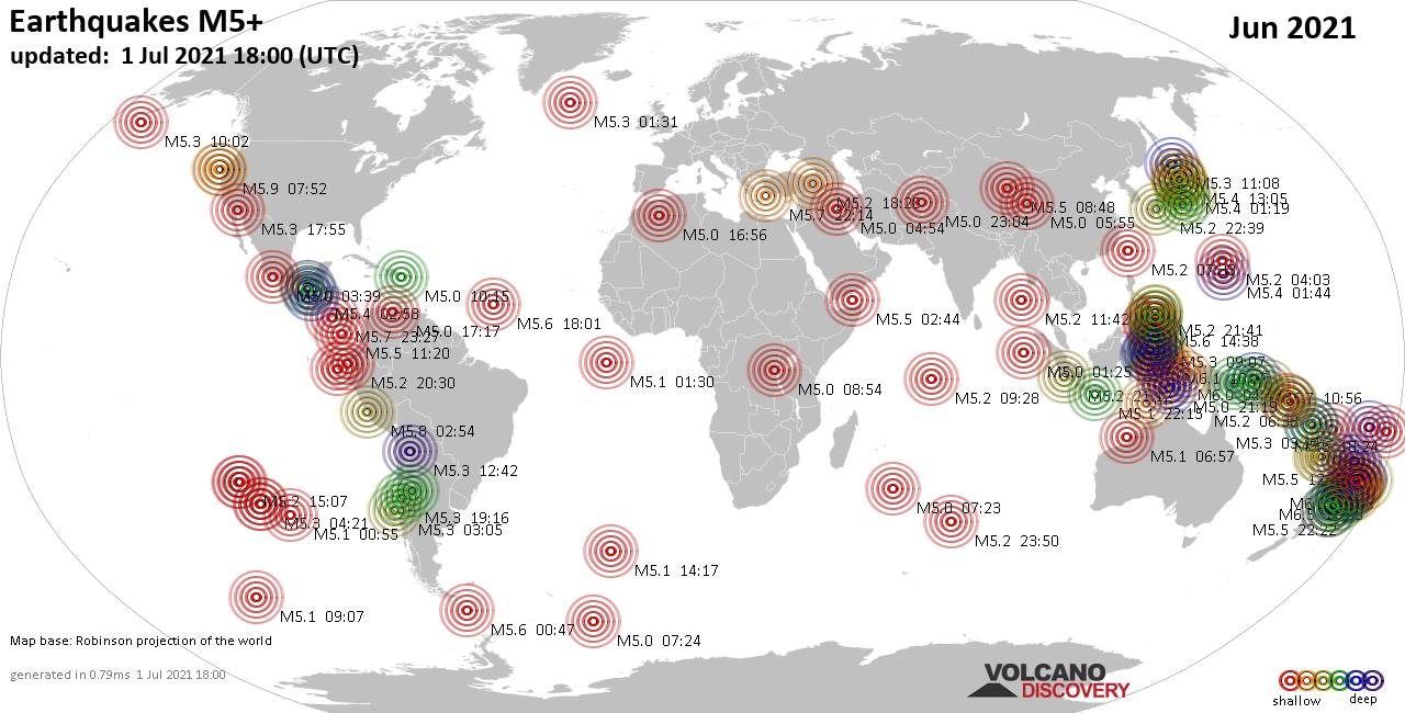Worldwide earthquakes above magnitude 5 during June 2021