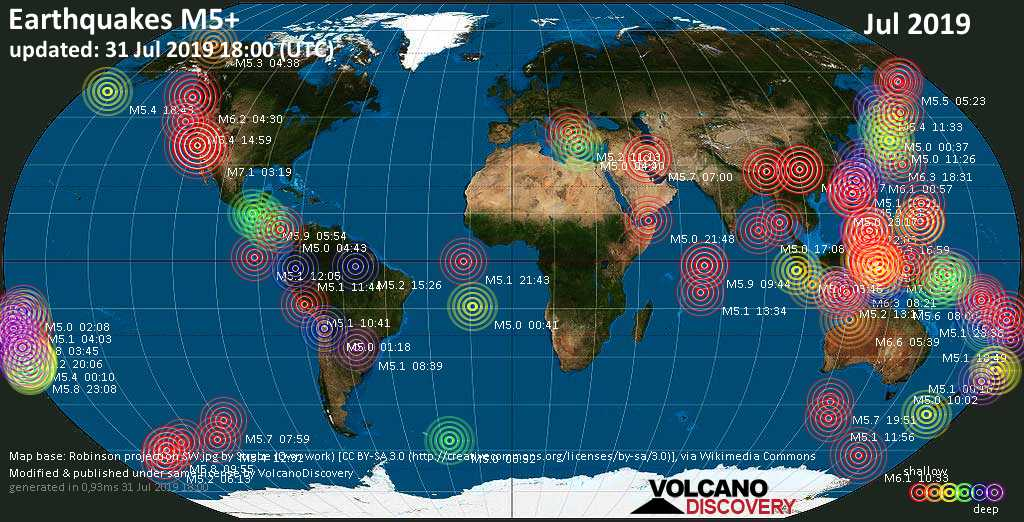 World map showing earthquakes above magnitude 5 during July 2019