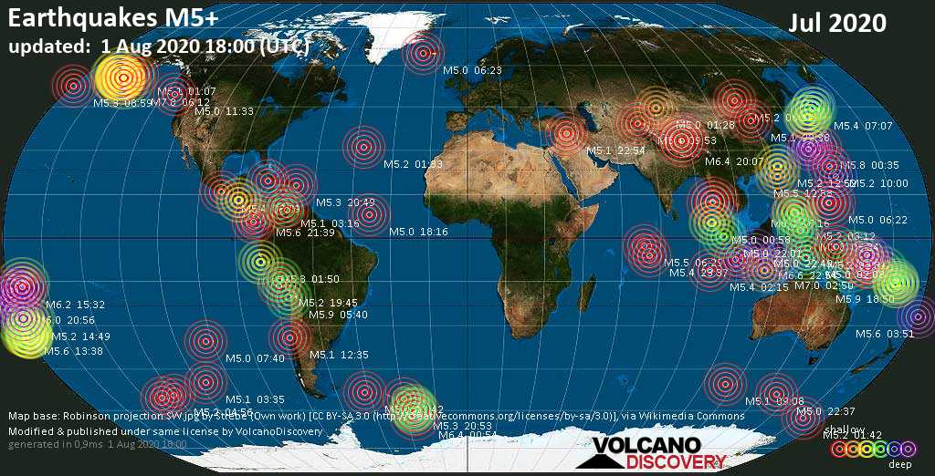 Worldwide earthquakes above magnitude 5 during July 2020