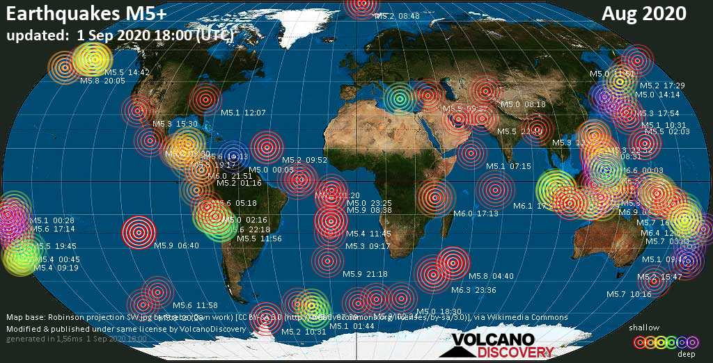 Worldwide earthquakes above magnitude 5 during August 2020