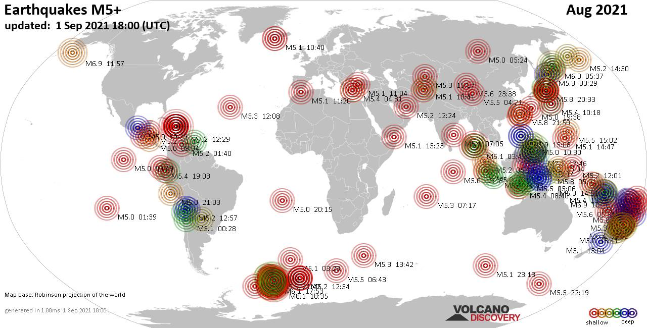Worldwide earthquakes above magnitude 5 during August 2021