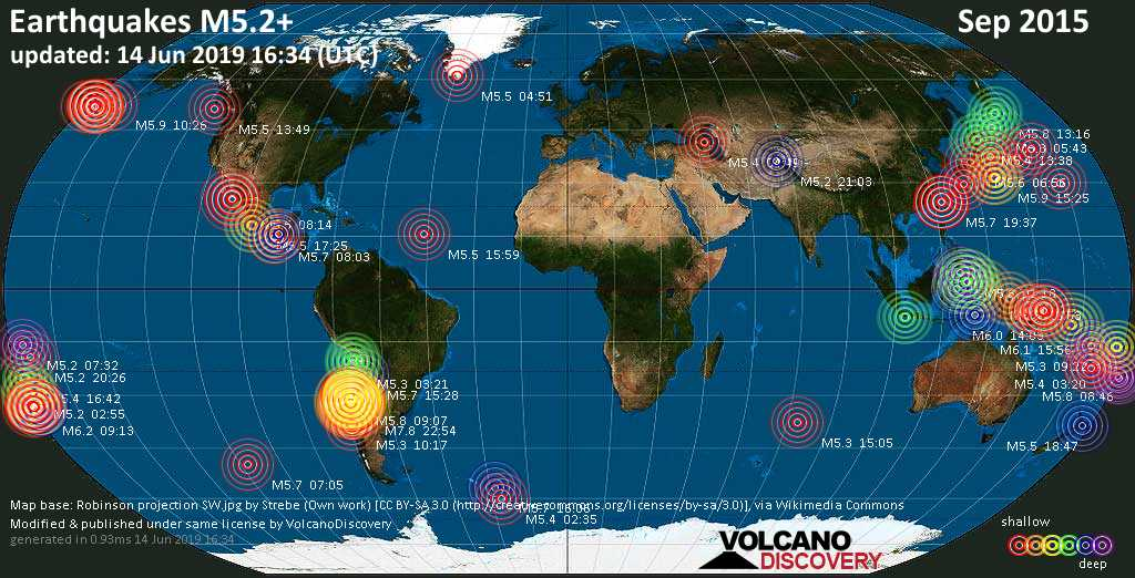 World map showing earthquakes above magnitude 5.2 during September 2015