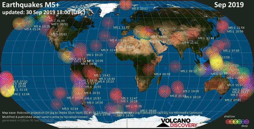 World map showing earthquakes above magnitude 5 during September 2019