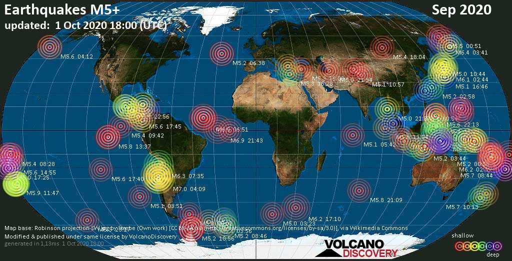 Worldwide earthquakes above magnitude 5 during September 2020