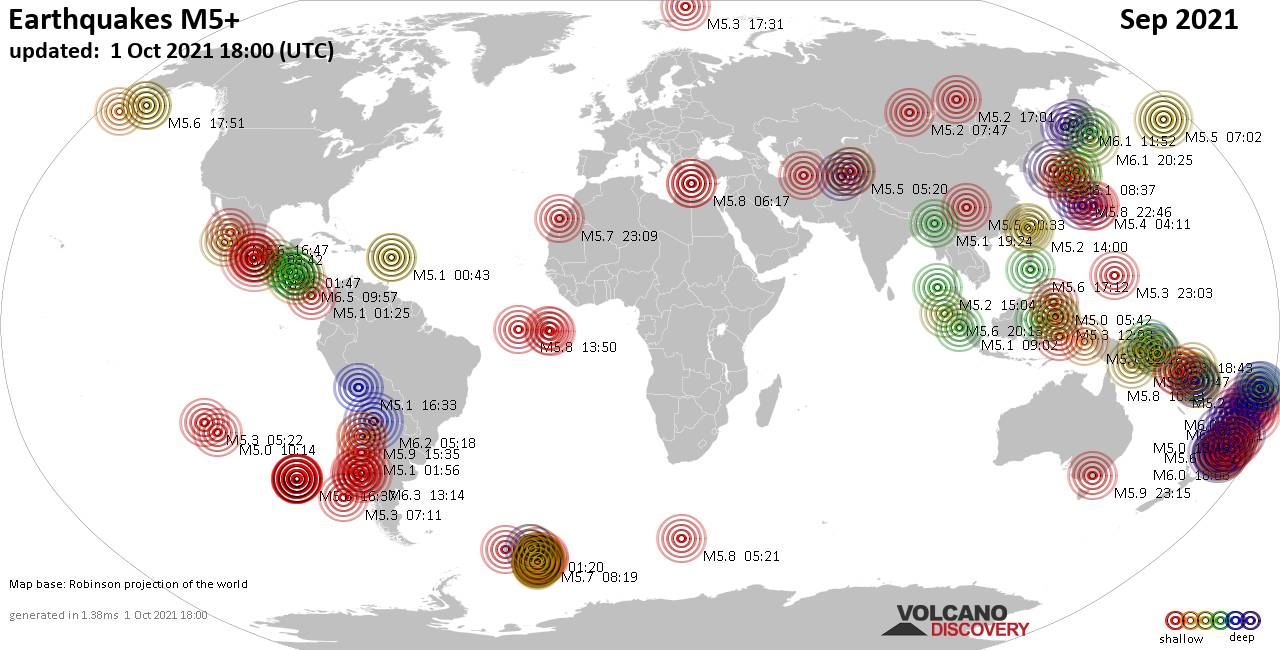 Worldwide earthquakes above magnitude 5 during September 2021