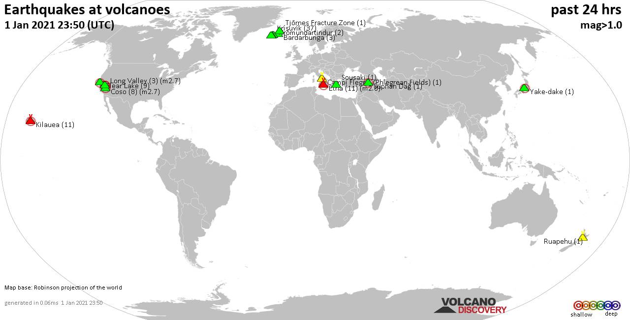 World map showing volcanoes with shallow (less than 20 km) earthquakes within 20 km radius  during the past 24 hours on  1 Jan 2021 Number in brackets indicate nr of quakes.