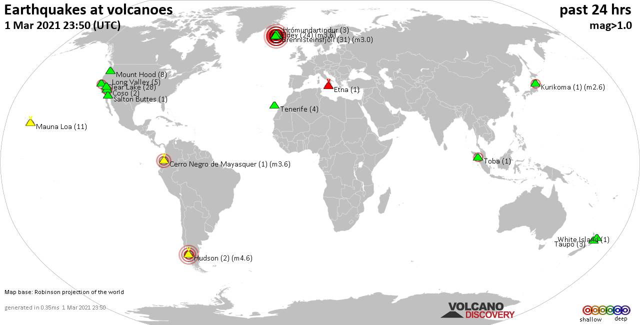 World map showing volcanoes with shallow (less than 20 km) earthquakes within 20 km radius  during the past 24 hours on  1 Mar 2021 Number in brackets indicate nr of quakes.