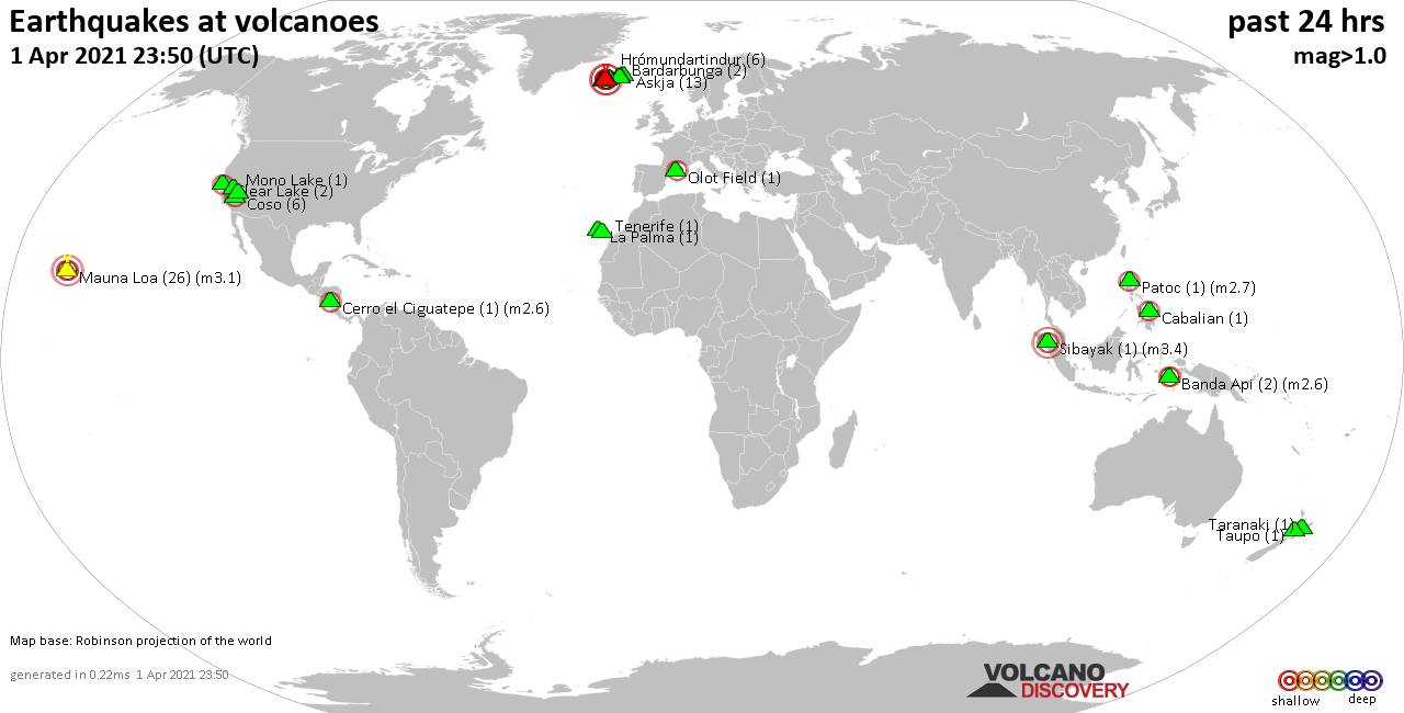 World map showing volcanoes with shallow (less than 20 km) earthquakes within 20 km radius  during the past 24 hours on  1 Apr 2021 Number in brackets indicate nr of quakes.