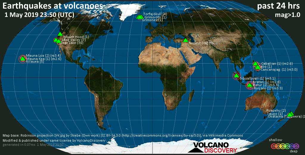 World map showing volcanoes with shallow (less than 20 km) earthquakes within 20 km radius  during the past 24 hours on  1 May 2019 Number in brackets indicate nr of quakes.