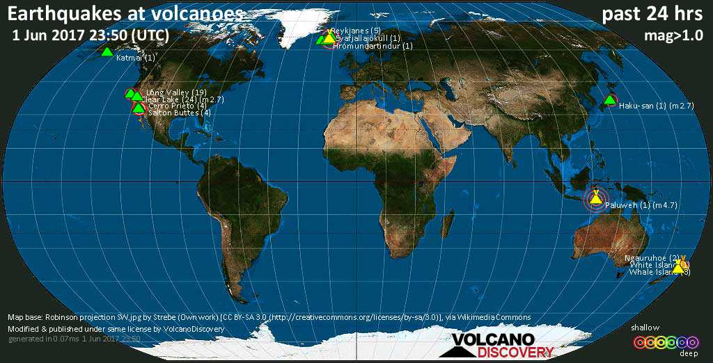 World map showing volcanoes with shallow (less than 20 km) earthquakes within 20 km radius  during the past 24 hours on  1 Jun 2017 Number in brackets indicate nr of quakes.