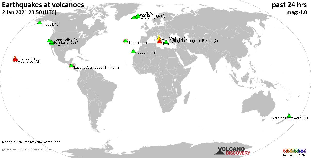 World map showing volcanoes with shallow (less than 20 km) earthquakes within 20 km radius  during the past 24 hours on  2 Jan 2021 Number in brackets indicate nr of quakes.