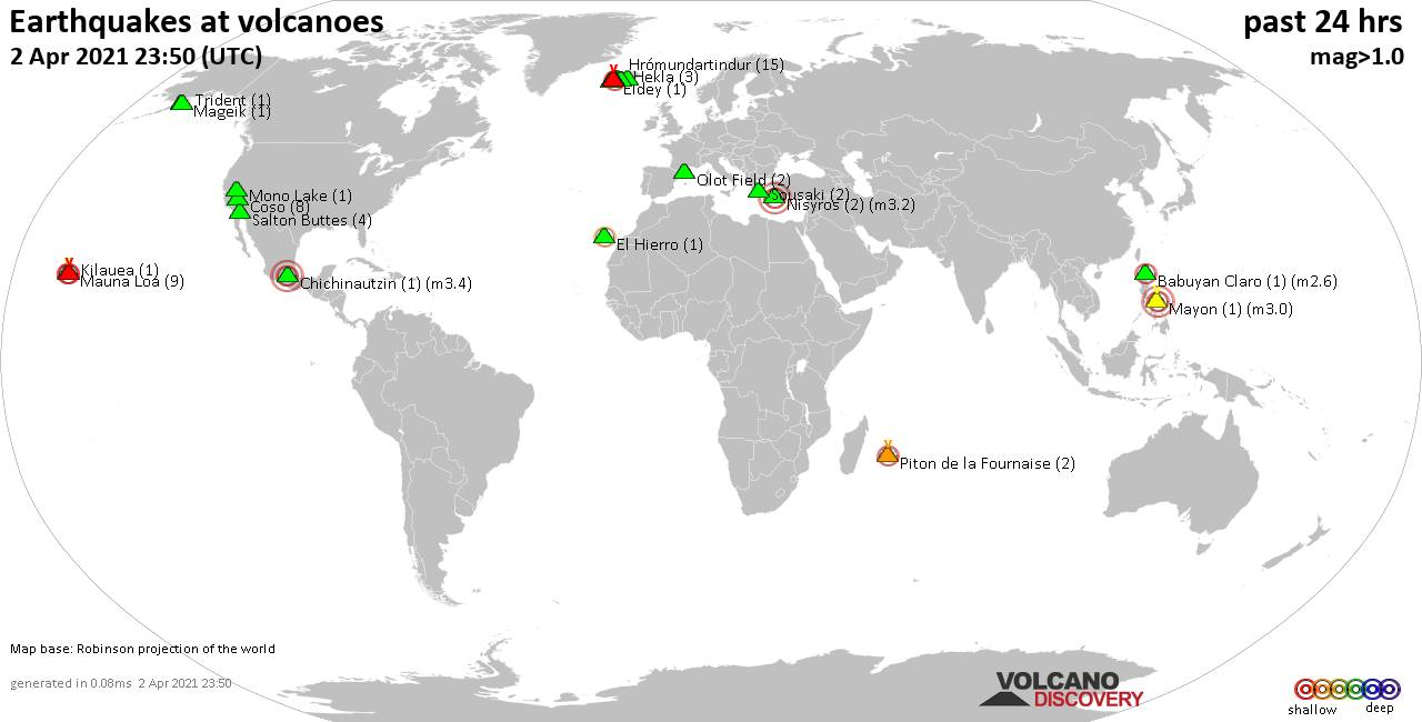 World map showing volcanoes with shallow (less than 20 km) earthquakes within 20 km radius  during the past 24 hours on  2 Apr 2021 Number in brackets indicate nr of quakes.