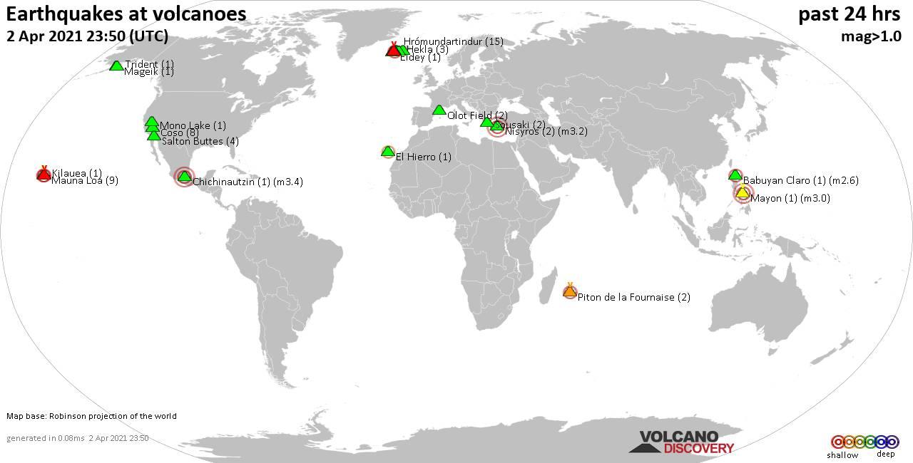 Carte du monde montrant les tremblements de terre peu profonds (moins de 20 km) dans un rayon de 20 km au cours des dernières 24 heures le 2 avril 2021.