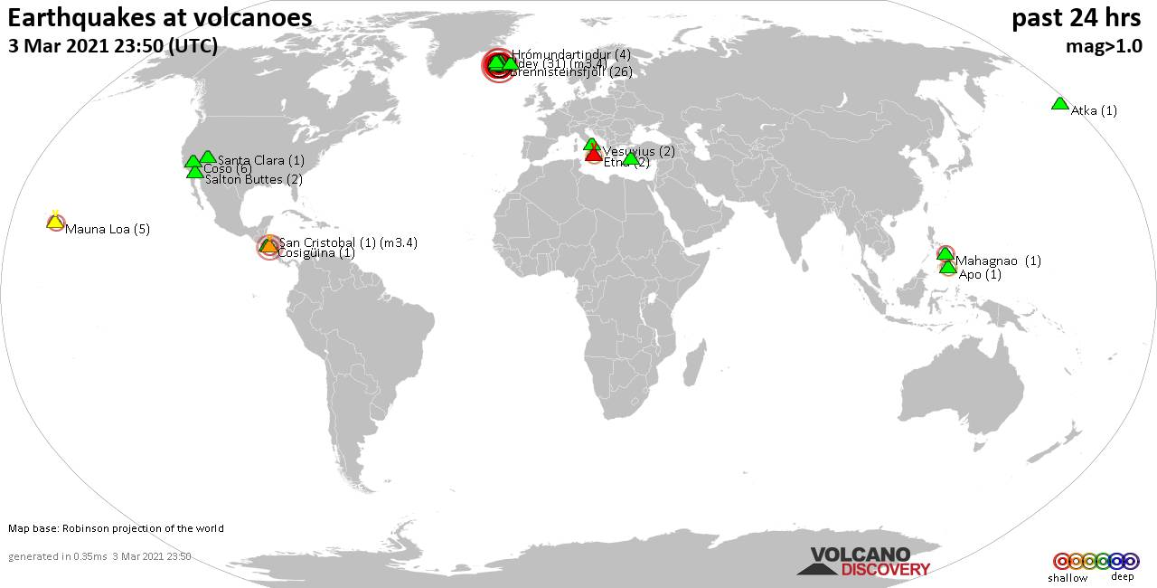 World map showing volcanoes with shallow (less than 20 km) earthquakes within 20 km radius  during the past 24 hours on  3 Mar 2021 Number in brackets indicate nr of quakes.