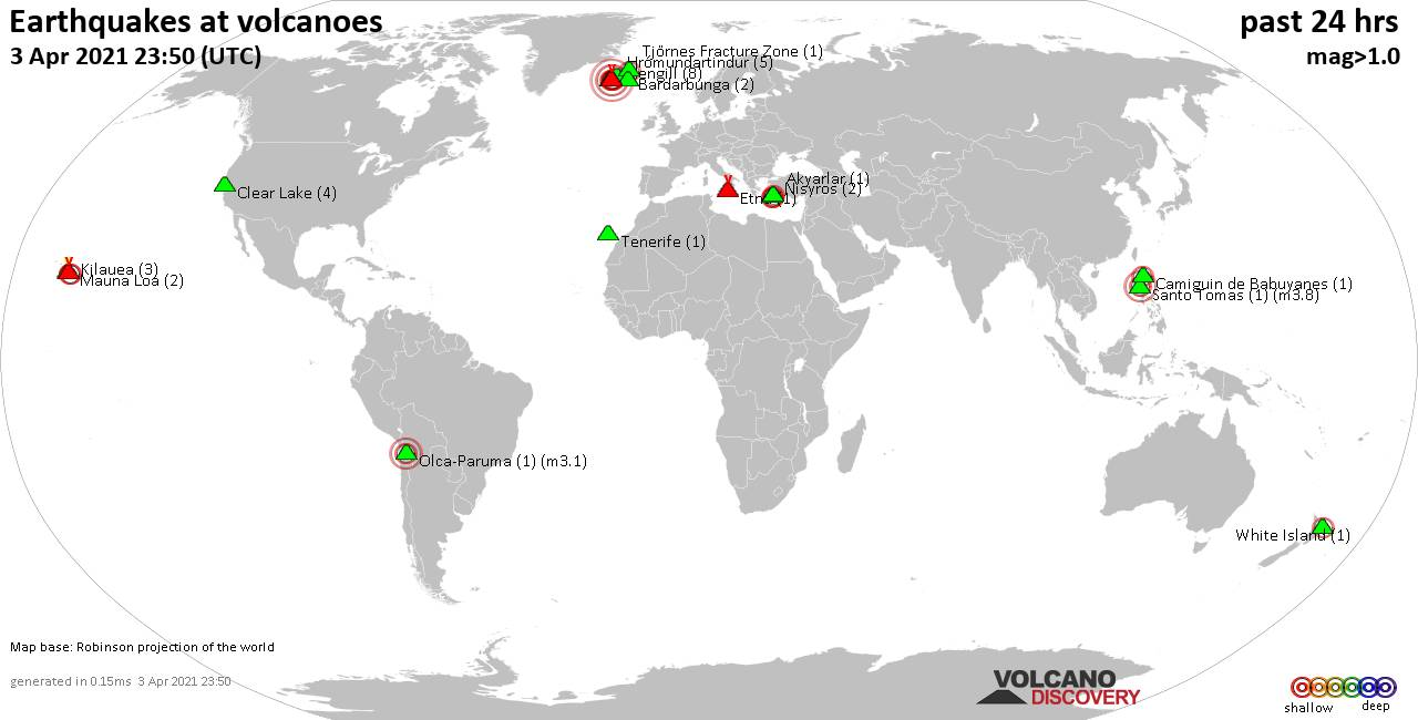 World map showing volcanoes with shallow (less than 20 km) earthquakes within 20 km radius  during the past 24 hours on  3 Apr 2021 Number in brackets indicate nr of quakes.