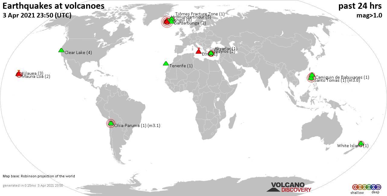 Peta dunia yang menunjukkan gempa dangkal (kurang dari 20 km) dengan radius 20 km dalam 24 jam terakhir pada tanggal 3 April 2021.