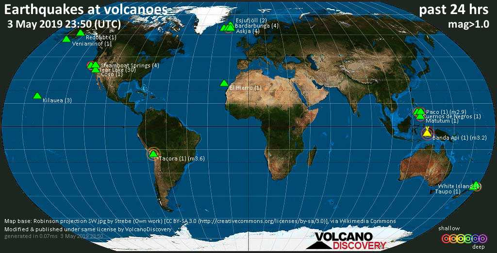 World map showing volcanoes with shallow (less than 20 km) earthquakes within 20 km radius  during the past 24 hours on  3 May 2019 Number in brackets indicate nr of quakes.