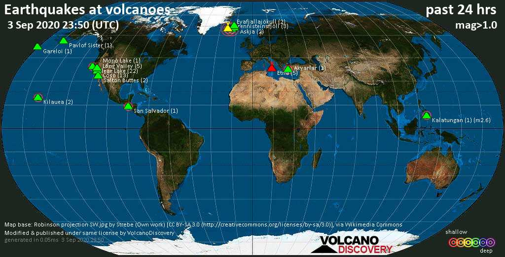 World map showing volcanoes with shallow (less than 20 km) earthquakes within 20 km radius  during the past 24 hours on  3 Sep 2020 Number in brackets indicate nr of quakes.