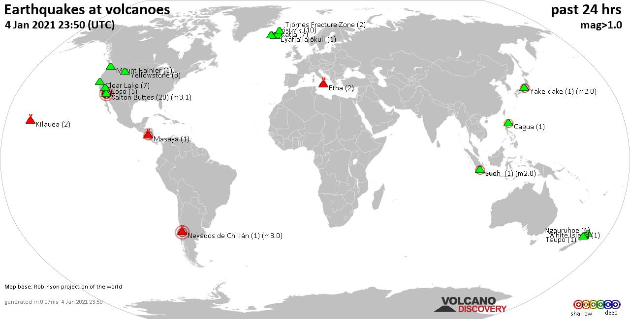 World map showing volcanoes with shallow (less than 20 km) earthquakes within 20 km radius  during the past 24 hours on  4 Jan 2021 Number in brackets indicate nr of quakes.