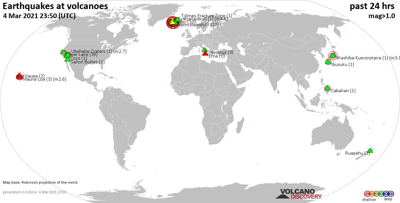 World map showing volcanoes with shallow (less than 20 km) earthquakes within 20 km radius  during the past 24 hours on  4 Mar 2021 Number in brackets indicate nr of quakes.