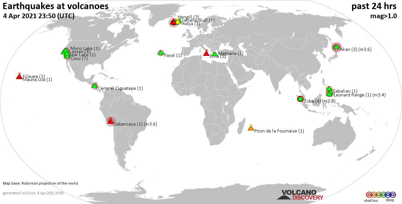 World map showing volcanoes with shallow (less than 20 km) earthquakes within 20 km radius  during the past 24 hours on  4 Apr 2021 Number in brackets indicate nr of quakes.