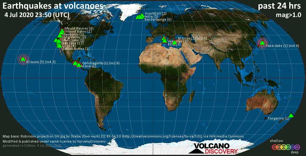 World map showing volcanoes with shallow (less than 20 km) earthquakes within 20 km radius  during the past 24 hours on  4 Jul 2020 Number in brackets indicate nr of quakes.