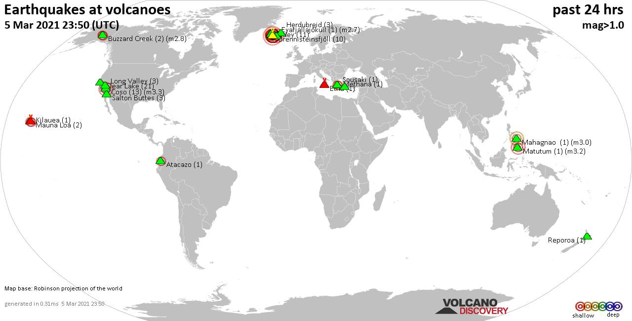 World map showing volcanoes with shallow (less than 20 km) earthquakes within 20 km radius  during the past 24 hours on  5 Mar 2021 Number in brackets indicate nr of quakes.