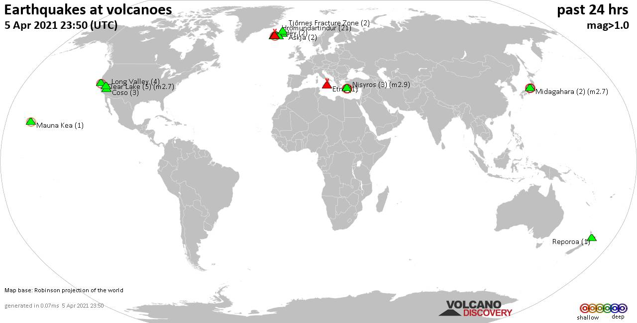 World map showing volcanoes with shallow (less than 20 km) earthquakes within 20 km radius  during the past 24 hours on  5 Apr 2021 Number in brackets indicate nr of quakes.