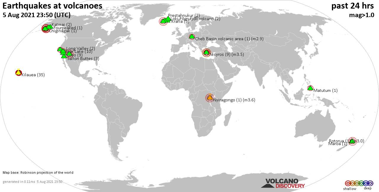 World map showing volcanoes with shallow (less than 20 km) earthquakes within 20 km radius  during the past 24 hours on  5 Aug 2021 Number in brackets indicate nr of quakes.