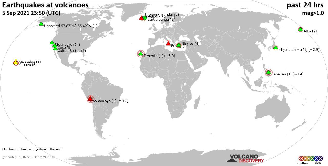 World map showing volcanoes with shallow (less than 20 km) earthquakes within 20 km radius  during the past 24 hours on  5 Sep 2021 Number in brackets indicate nr of quakes.