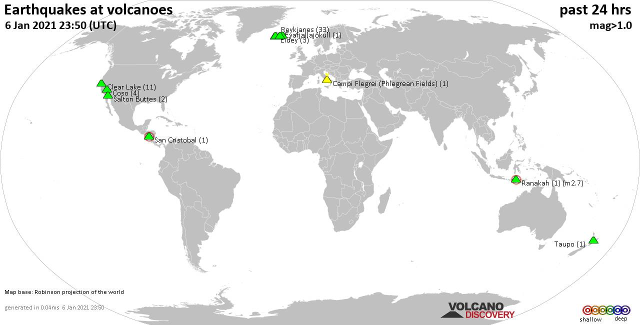 World map showing volcanoes with shallow (less than 20 km) earthquakes within 20 km radius  during the past 24 hours on  6 Jan 2021 Number in brackets indicate nr of quakes.