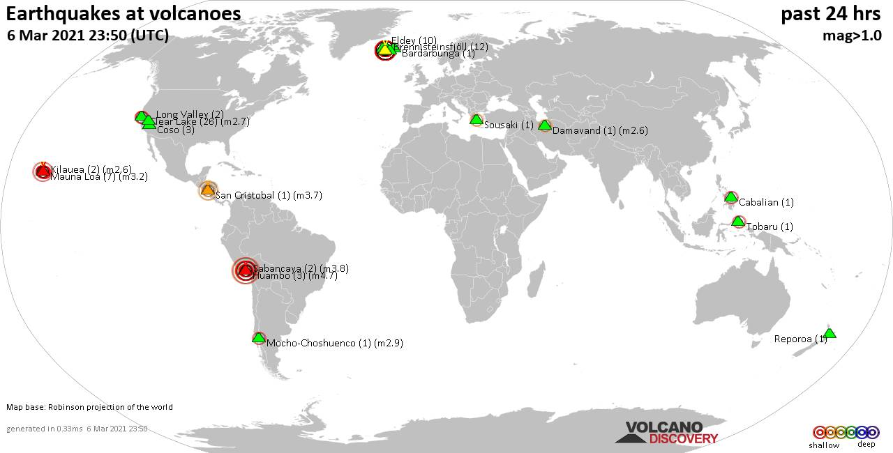 World map showing volcanoes with shallow (less than 20 km) earthquakes within 20 km radius  during the past 24 hours on  6 Mar 2021 Number in brackets indicate nr of quakes.