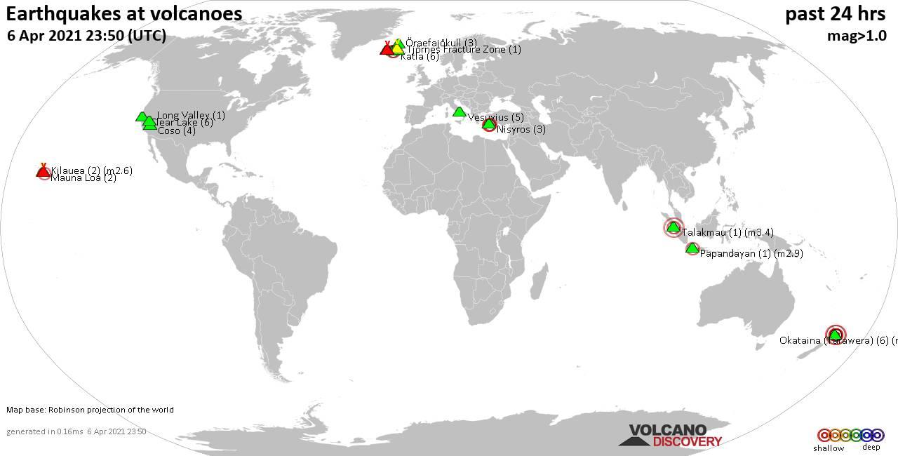 2021年4月6日の過去24時間に半径20kmの浅い(20 km未満)地震を示す世界地図。 括弧内の数字は地震の数を示しています。