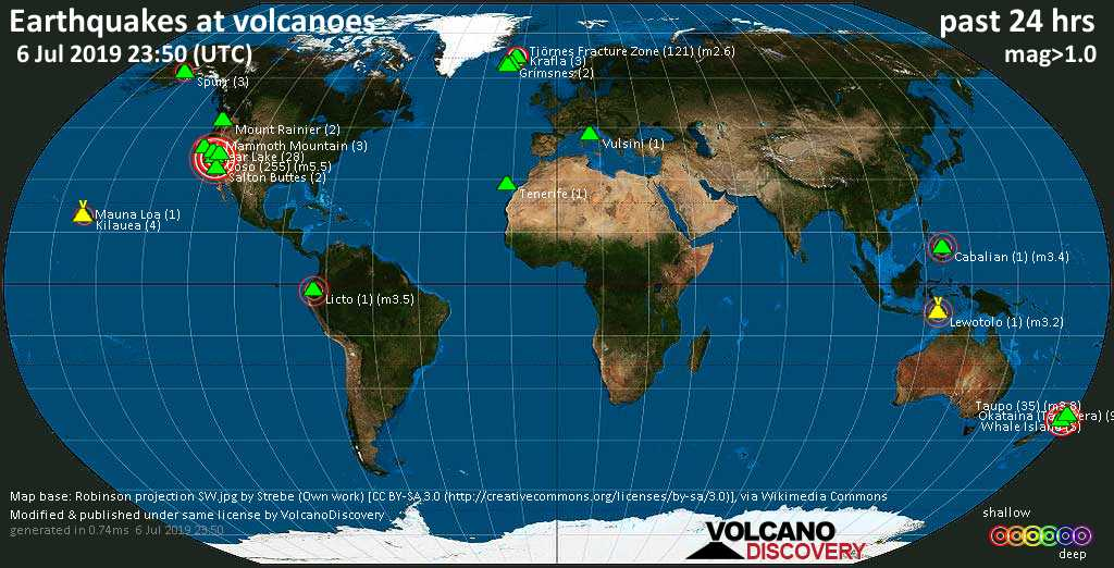 World map showing volcanoes with shallow (less than 20 km) earthquakes within 20 km radius  during the past 24 hours on  6 Jul 2019 Number in brackets indicate nr of quakes.