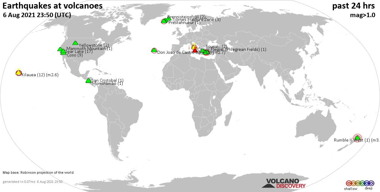World map showing volcanoes with shallow (less than 20 km) earthquakes within 20 km radius  during the past 24 hours on  6 Aug 2021 Number in brackets indicate nr of quakes.