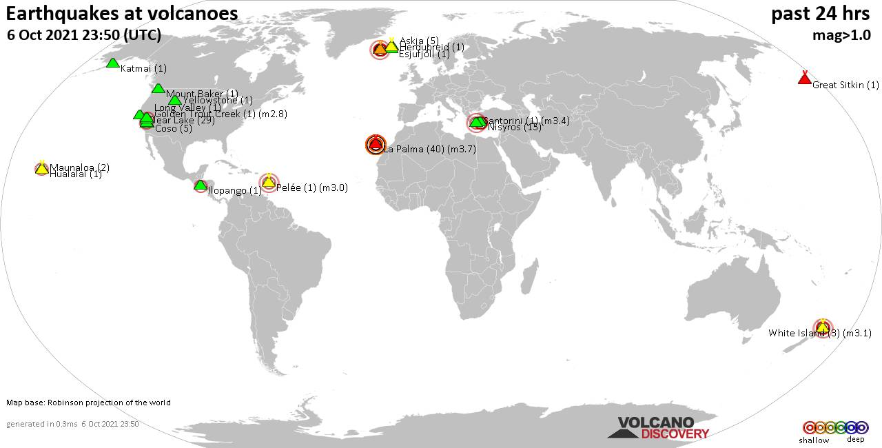 World map showing volcanoes with shallow (less than 20 km) earthquakes within 20 km radius  during the past 24 hours on  6 Oct 2021 Number in brackets indicate nr of quakes.